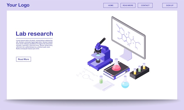 Lab research tools isometric webpage template. modern laboratory equipment, 3d microscope, beakers. chemical substance formula on big board, screen.