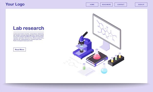 실험실 연구 도구 아이소 메트릭 웹 페이지 템플릿 현대 실험실 장비, 3d 현미경, 비커. 큰 보드, 화면에 화학 물질 공식.