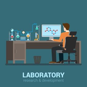 실험실 작업자 테이블 컴퓨터 화학 연구 과정. 제약 약리학 실험실. 플랫 스타일의 현대적인 전문 직업 관련 남자 직장 개체. 작업 컬렉션에서 사람들.