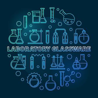Labatory glassware  blue round outline illustration
