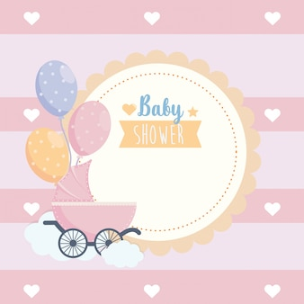 Label of baby shower poster celebration