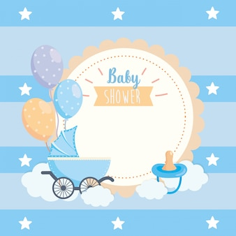 Label of balloons and pacifier with carriage decoration
