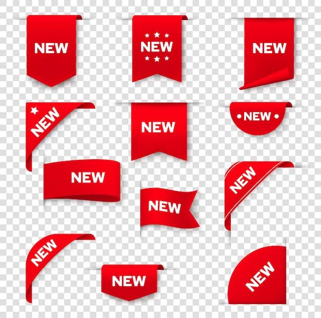 웹 페이지, 새 태그 배지, 아이콘 레이블 배너. 제품 프로모션 판매를위한 빨간 스티커 표지판, 코너 라벨 배너 및 리본, 새로운 매장 및 온라인 상점 특별 가격 제공