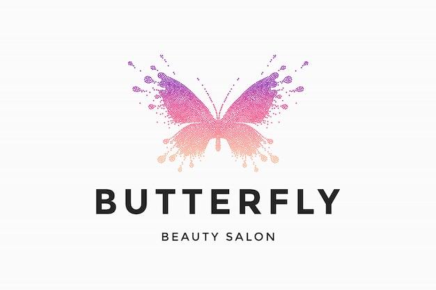 Label of beauty salon butterfly