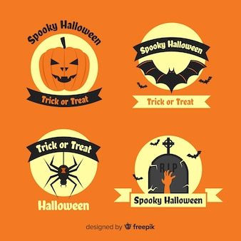 Label collection of flat halloween on orange shades