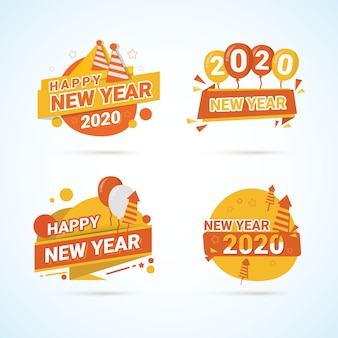 Label collection for greeting of new year 2020