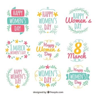 Коллекция ярлыков девяти для дня женщины Бесплатные векторы