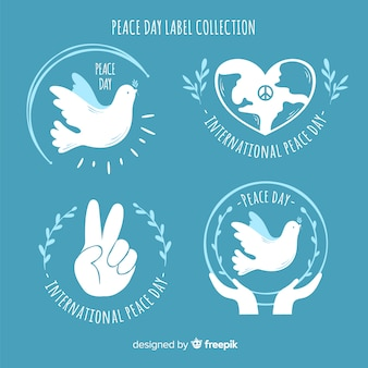 Label collection of peace signs and symbols