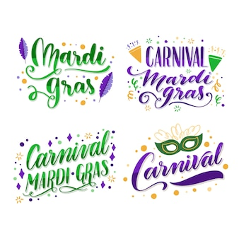 Label collection with mardi gras concept