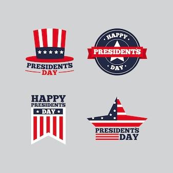 Label collection with presidents day concept