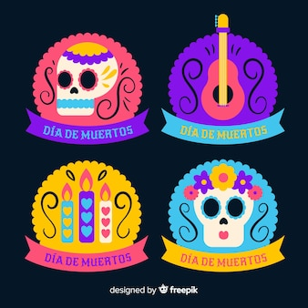 Label collection with ribbon for dia de muertos event