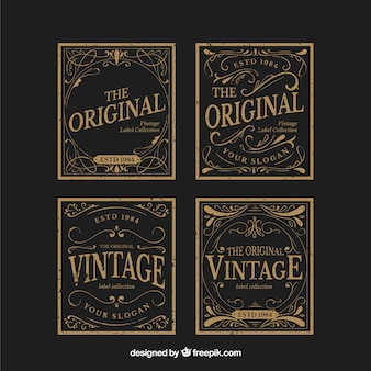 Label collection with vintage style