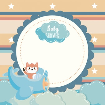Label of cute fox in the cradle and clouds