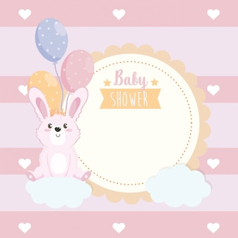 Label of cute rabbit animal with balloons and clouds