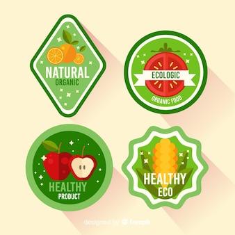 有機食品、野菜食品、エコ食品、天然食品のラベルデザイン