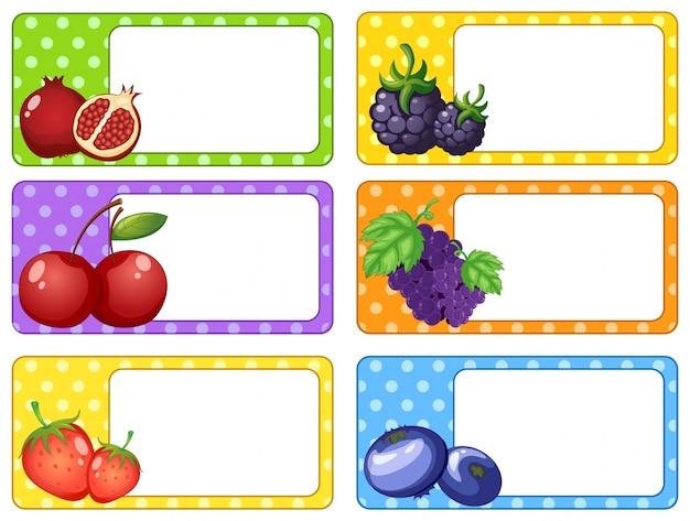 Disegno di etichetta con illustrazione di frutti e bacche Vettore gratuito