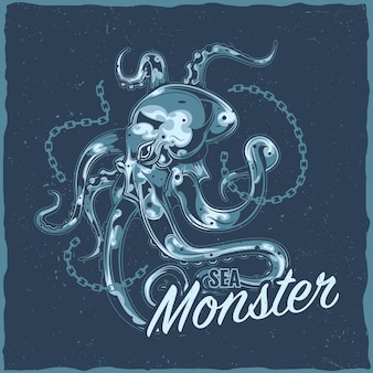 Label design with illustration of octopus