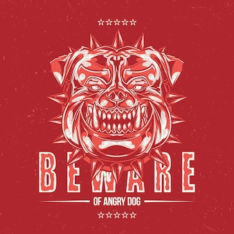 Design di etichette con illustrazione della testa di pitbull