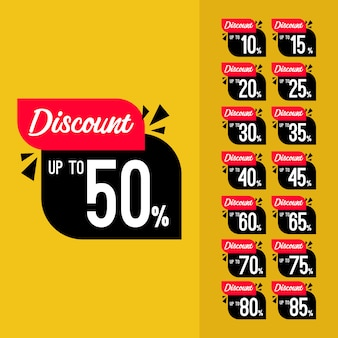 Label discount set vector template