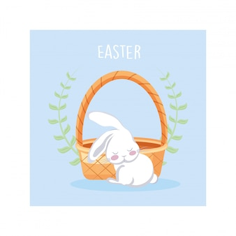 Label easter with cute rabbit