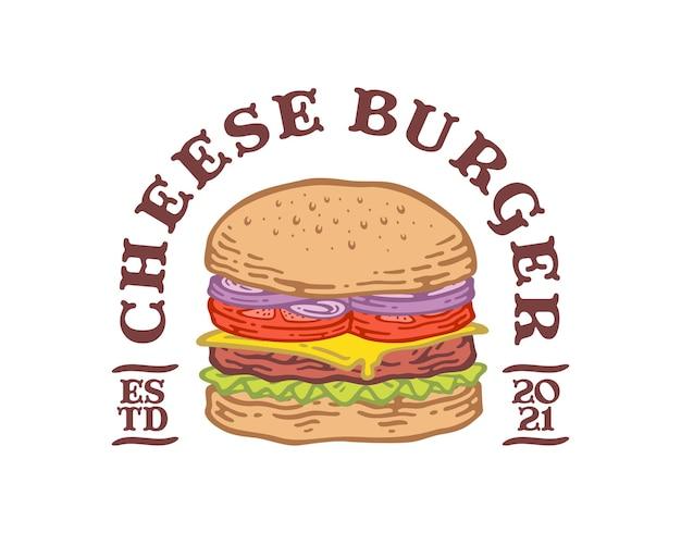 Label emblem of cheese burger in doodle vintage design.