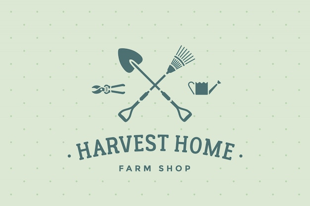 Label of farm shop harvest home