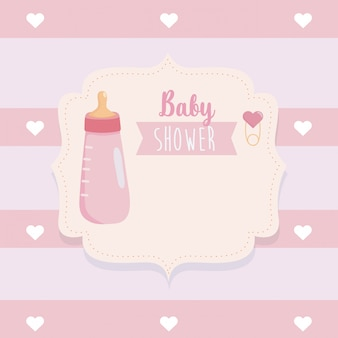 Label of feeding bottle with hearts decoration