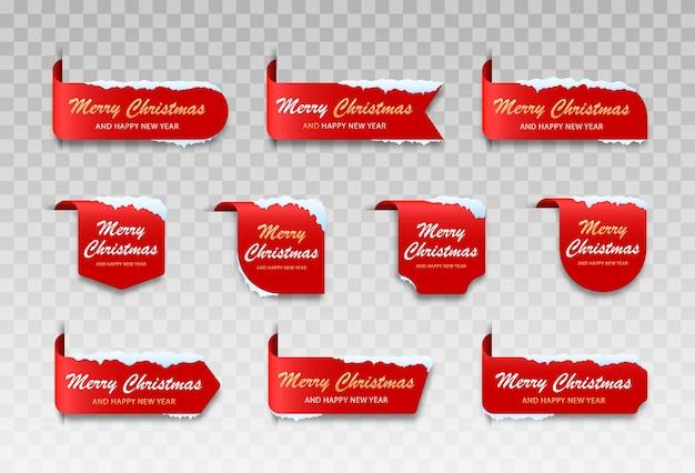 눈이 내리는 메리 크리스마스 라벨 세련되고 심플한 크리스마스 카드 세트