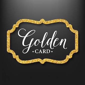 Label frame silhouette on the gold glitter