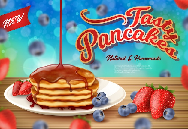 Label inscription new fasty pancakes realistic.