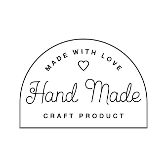 Label or logo with lettering hand made. vector flat illustrations. modern and stylish badge. thin line inscription handmade, made with love, craft product on white.