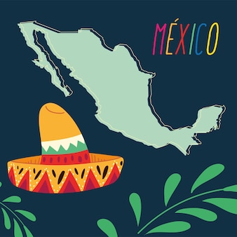 Этикетка мексика с мексиканской шляпой и картой, дизайн плаката