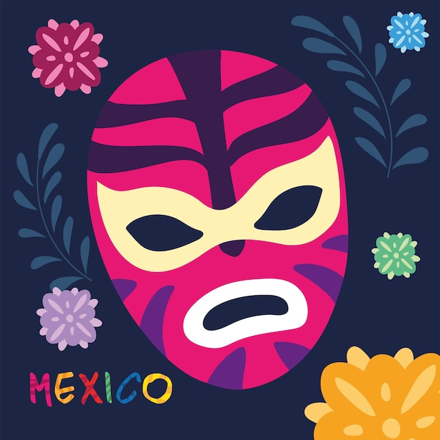 Label mexico with mexican wrestler mask design