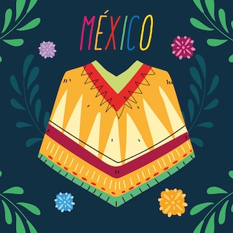 Label mexico with poncho clothing, typical mexican poncho design