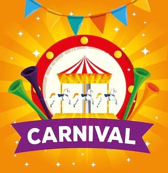 Ярлык карнавального веселья и труб с праздничным знаменем