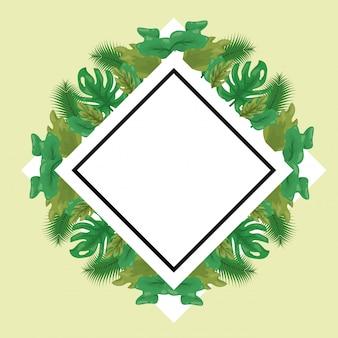 녹색 열 대 잎의 레이블