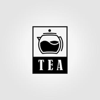 Этикетка чайник логотип старинные векторные иллюстрации дизайн