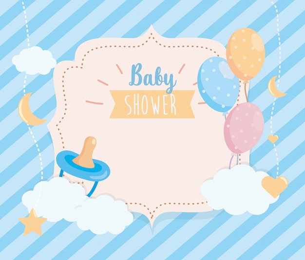 Label of pacifier with balloons and clouds decoration