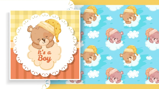 Label of party banner with teddy bear