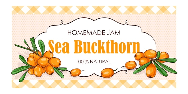 Label of sea buckthorn with watercolor background and colored border