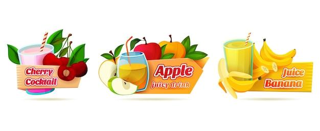 Label set for juicy drinks or summer cocktails