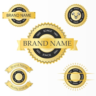 Label set with gold texture.