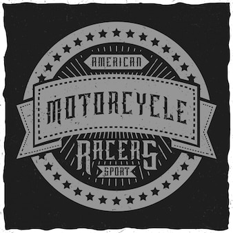 Label/t-shirt design on a motocycle theme.