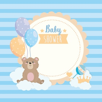 Label of teddy bear with ballons and clouds