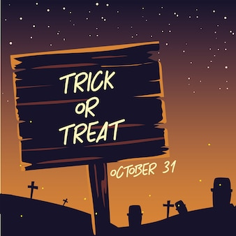 Label trick or treat in the cemetery with dark background halloween illustration design