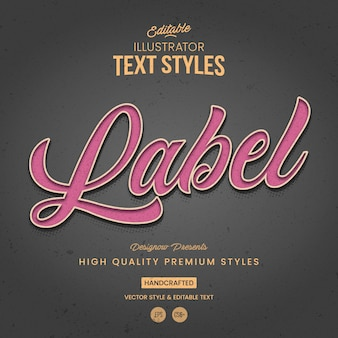 Label vintage illustrator text style