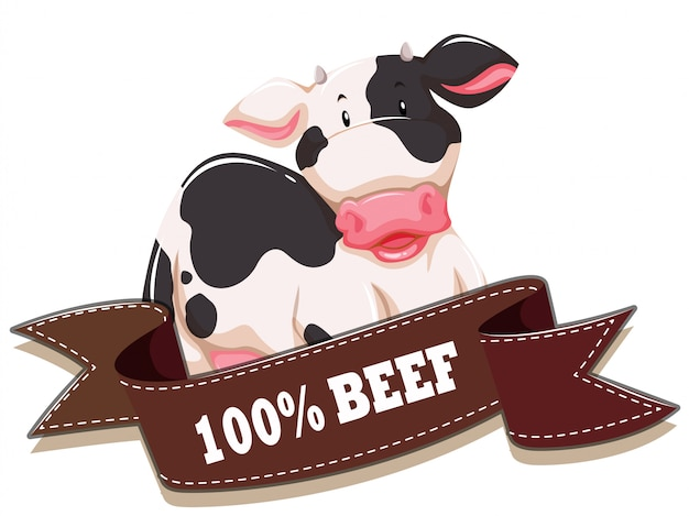 Label  with cow and ribbon