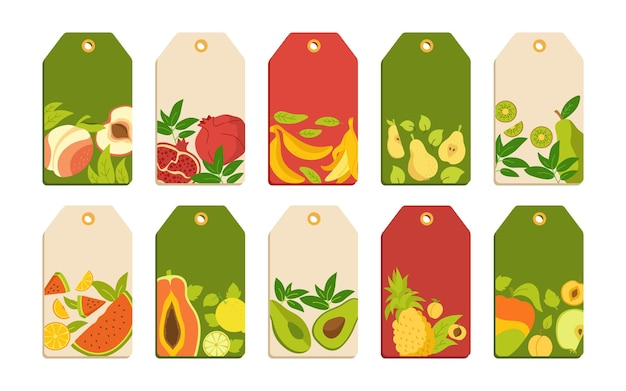 과일 만화 세트 템플릿 레이블. 열대 가격표 과일, 파인애플 배 수박과 귤, 무화과, 레몬.
