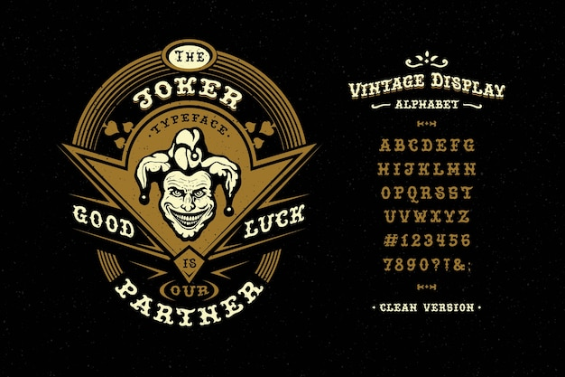 Label with head of joker and vintage typeface