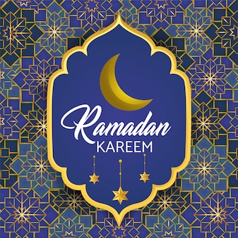 Label with moon and stars to ramadan kareem